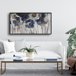 Framed 24 x 48 - Blue blurry flowers