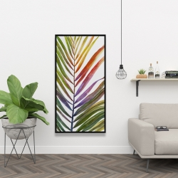 Framed 24 x 48 - Watercolor tropical palm leave