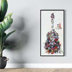 Framed 24 x 48 - Abstract guitar made of shapes