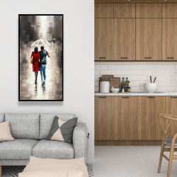 Framed 24 x 48 - Quiet walk in couple in the rain