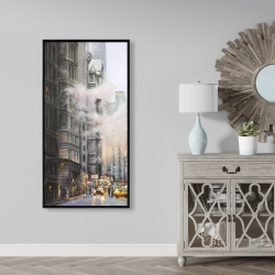 Framed 24 x 48 - Morning in the streets of new-york city