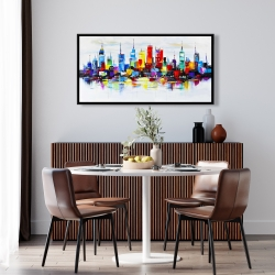 Framed 24 x 48 - Abstract and colorful city