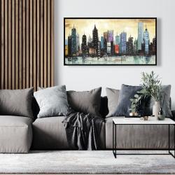 Framed 24 x 48 - Skyline on abstract cityscape