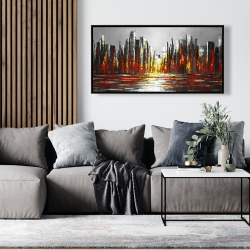 Framed 24 x 48 - Abstract red skyline