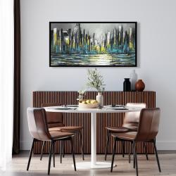 Framed 24 x 48 - Abstract blue skyline