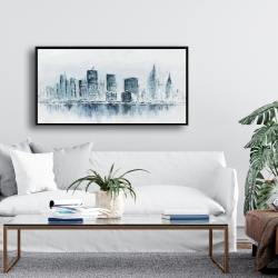 Framed 24 x 48 - City in blue colors