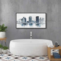 Framed 24 x 48 - Texturized blue colors cityscape
