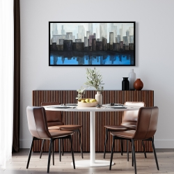 Framed 24 x 48 - View of a blue city