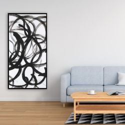 Framed 24 x 48 - Abstract curly lines