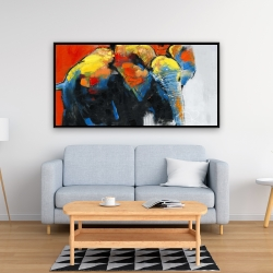 Framed 24 x 48 - Colorful abstract moving elephant