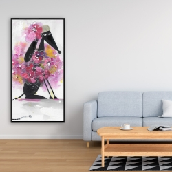 Framed 24 x 48 - Cartoon dog with pink flowers