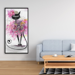 Framed 24 x 48 - Cartoon cat with pink flowers