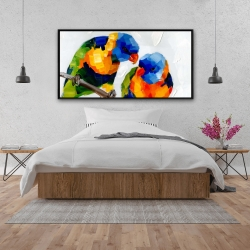 Framed 24 x 48 - Couple of parrots