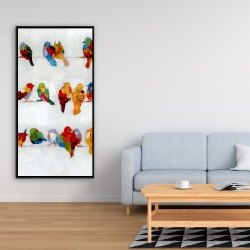 Framed 24 x 48 - A lot of colorful birds on a wire