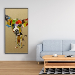 Framed 24 x 48 - Abstract colorful chihuahua