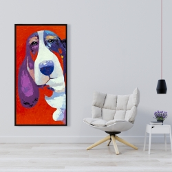 Framed 24 x 48 - Abstract colorful basset dog