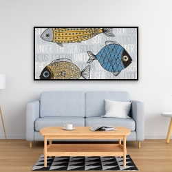 Framed 24 x 48 - Fishes' illustration