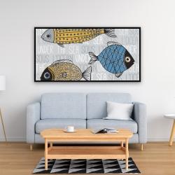 Framed 24 x 48 - Fishes' illustration