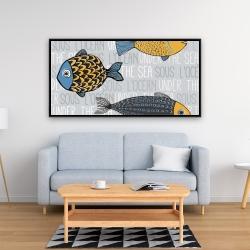 Framed 24 x 48 - Illustration of nautical fish
