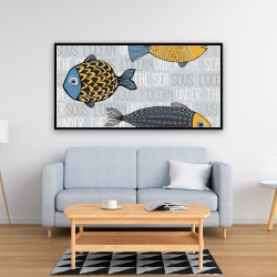 Framed 24 x 48 - Illustration of nautical fish
