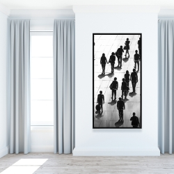 Framed 24 x 48 - Silhouettes of people on the street