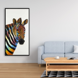 Framed 24 x 48 - Colorful profile view of a zebra