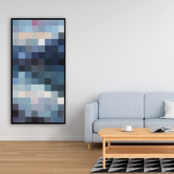 Framed 24 x 48 - Pixelated mountainous landscape