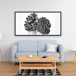 Framed 24 x 48 - Three small pine cones
