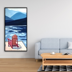 Framed 24 x 48 - Lake, dock, mountains & chairs
