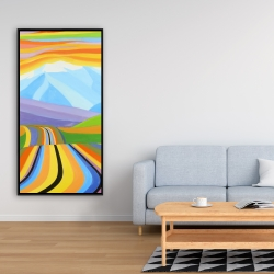 Framed 24 x 48 - Mountain road multicolored