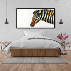 Framed 24 x 48 - Colorful zebra