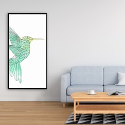 Framed 24 x 48 - Geometric hummingbird