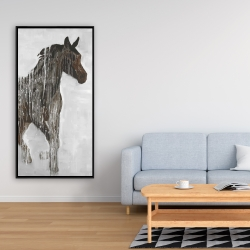 Framed 24 x 48 - Abstract brown horse