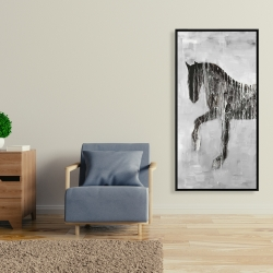 Framed 24 x 48 - Horse brown silhouette