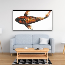 Framed 24 x 48 - Red butterfly koi fish