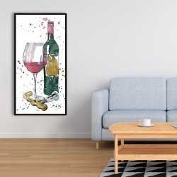 Framed 24 x 48 - Bottle of red wine