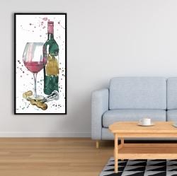 Framed 24 x 48 - Bottle of red wine