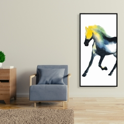 Framed 24 x 48 - Galloping colorful horse