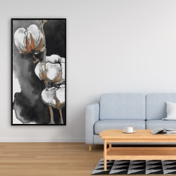 Framed 24 x 48 - Watercolor cotton flowers