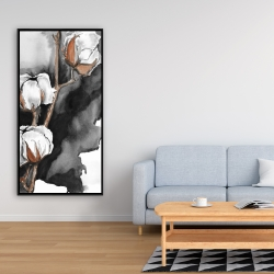 Framed 24 x 48 - Cotton flowers on a black background