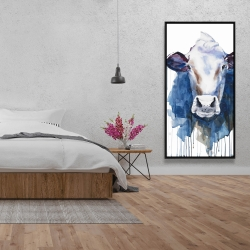 Framed 24 x 48 - Watercolor cow