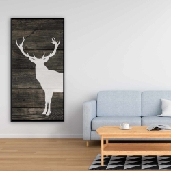 Framed 24 x 48 - Deer silhouette on wood