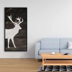 Framed 24 x 48 - Deer on wood background
