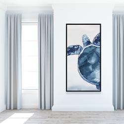 Framed 24 x 48 - Watercolor blue turtle