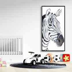 Framed 24 x 48 - Watercolor zebra