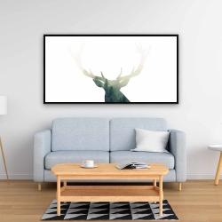 Framed 24 x 48 - Deer head with green landscape shape