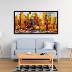 Framed 24 x 48 - Orange buildings