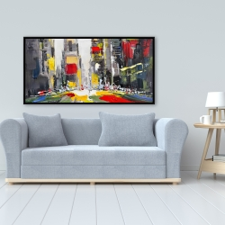 Framed 24 x 48 - Abstract texturized cityscape