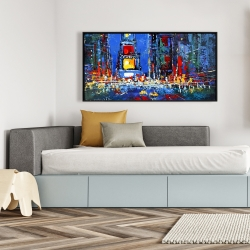 Framed 24 x 48 - Colorful and abstract times square by night