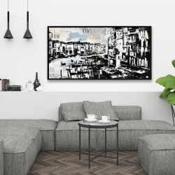 Framed 24 x 48 - Abstract venise port